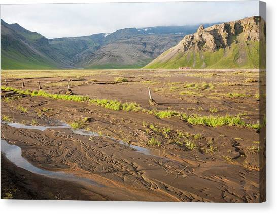 Eyjafjallajokull Canvas Print - Flood Damaged Field by Ashley Cooper