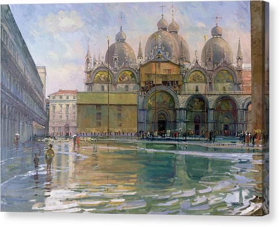 Flooding Canvas Print - Flood Tide, Venice, 1992 Oil On Canvas by Bob Brown