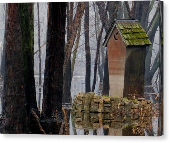Foggy Swamp Outhouse Canvas Print