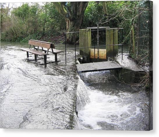 Flood Canvas Print - Flooded Sluice Gate by Sheila Terry