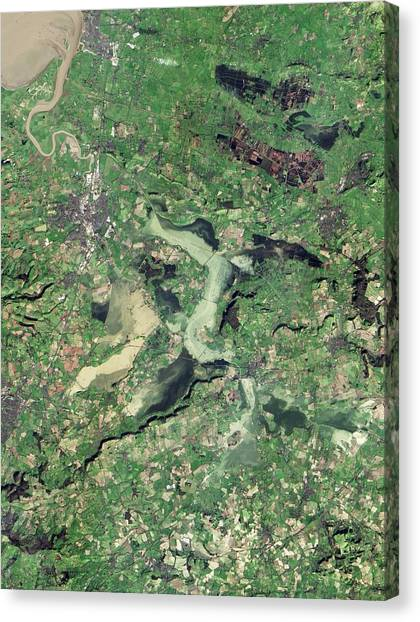 Flooding Canvas Print - Flooded Somerset Levels by Nasa