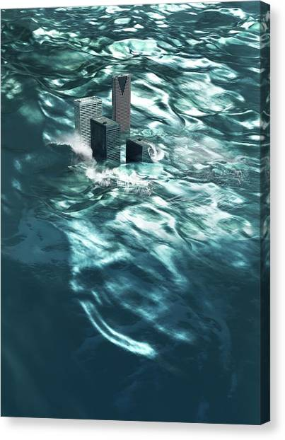 Drown Canvas Print - Flooding by Victor Habbick Visions/science Photo Library