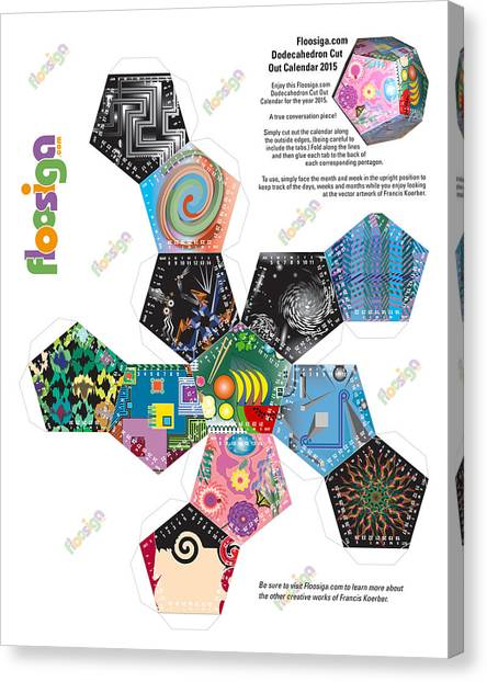 Floosiga Dodecahedron Cut Out Calendar 2015 Canvas Print by Francis Koerber