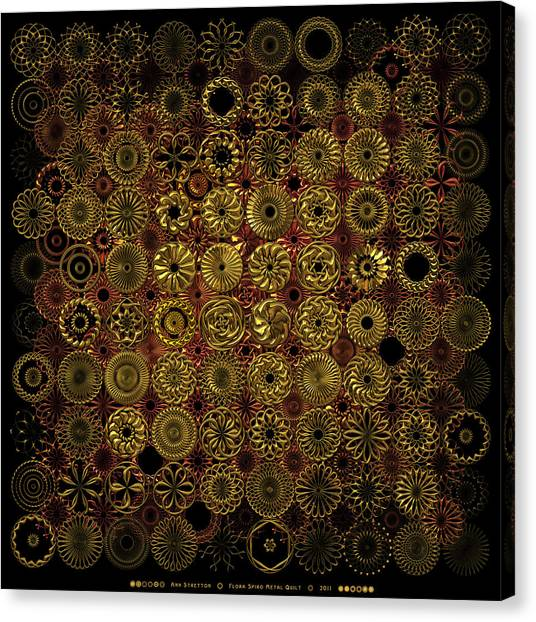 Flora Spiro Metal Quilt Canvas Print