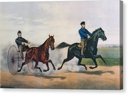 Currier And Ives Canvas Print - Flora Temple And Lancet Racing On The Centreville Course by Currier and Ives