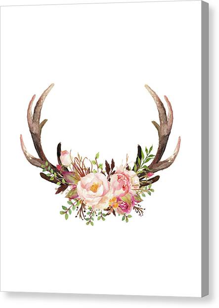 Floral Antlers Painting By Tara Moss