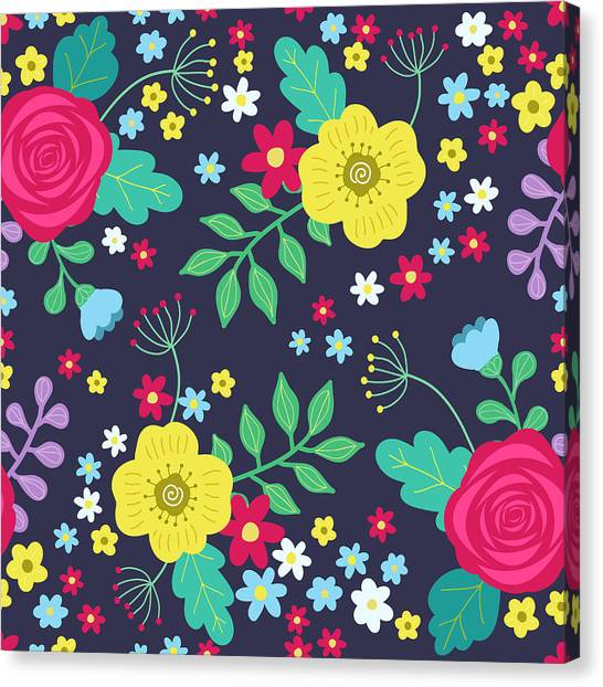 Printmaking Canvas Print - Floral Colorful Seamless Pattern With by Ekaterina Bedoeva