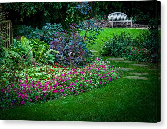 Floral Garden Walk And Park Bench Canvas Print