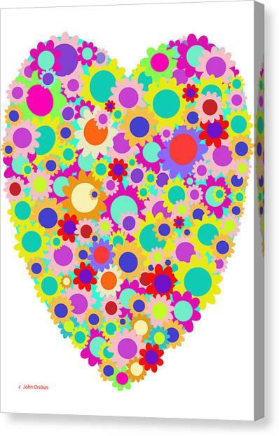 Floral Heart Valentine Canvas Print