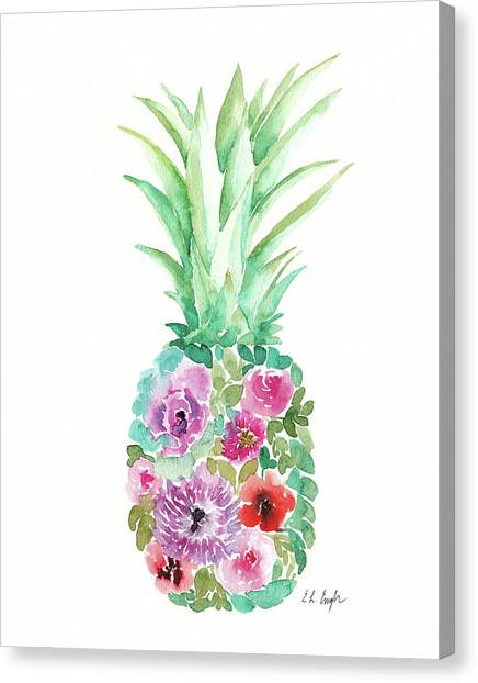 Pineapples Canvas Print - Floral Pineapple IIi by Elise Engh