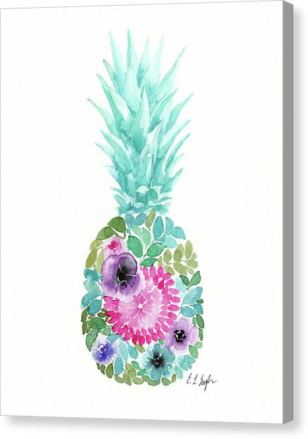 Pineapples Canvas Print - Floral Pineapple Iv by Elise Engh