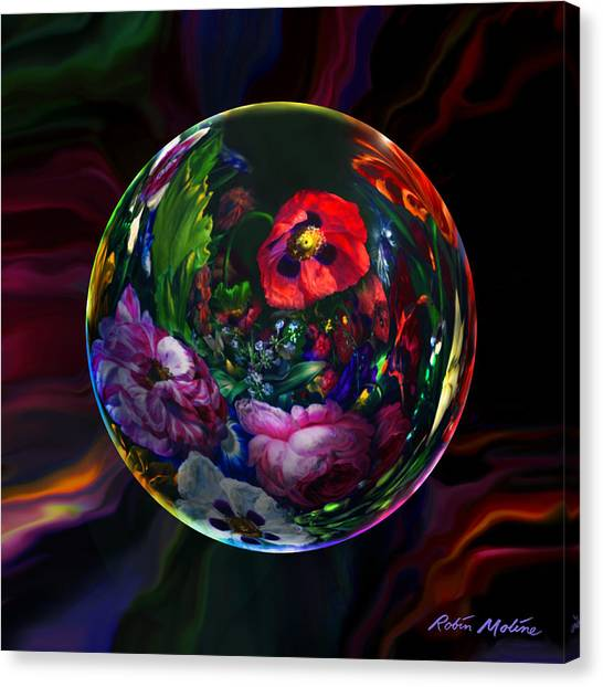 Robin Canvas Print - Floral Still Life Orb by Robin Moline