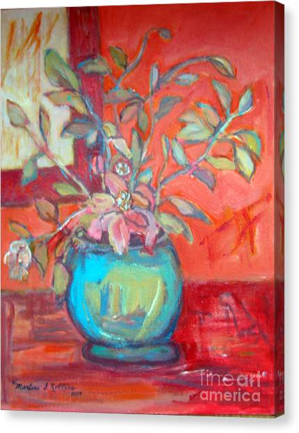 Floral With Orange Background Canvas Print by Marlene Robbins