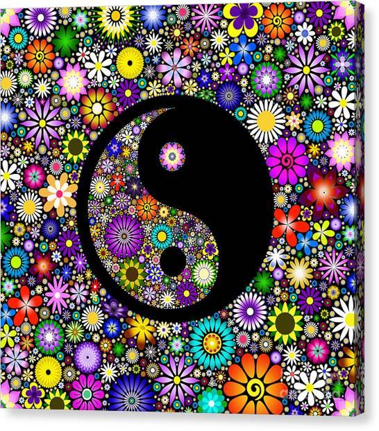 Karma Canvas Print - Floral Yin Yang by Tim Gainey