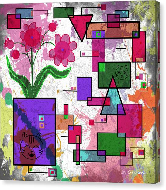 Florals And Pussycats Too Canvas Print by Jan Steadman-Jackson