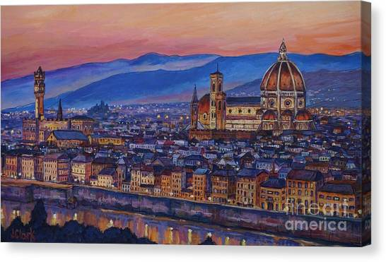 City Landscape Canvas Print - Florence At Night by John Clark