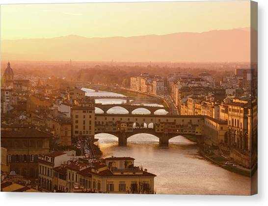 Florence City During Golden Sunset Canvas Print by Dragos Cosmin Photos