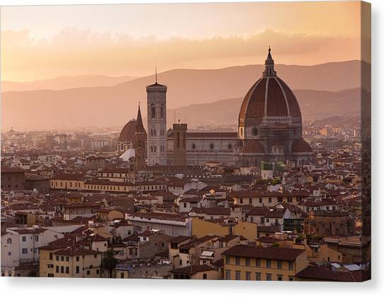 Florence Skyline At Sunset Canvas Print