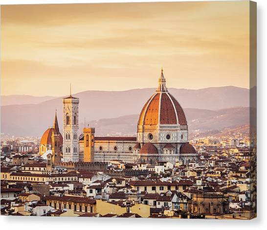 Florences Cathedral And Skyline At Canvas Print by Filippobacci