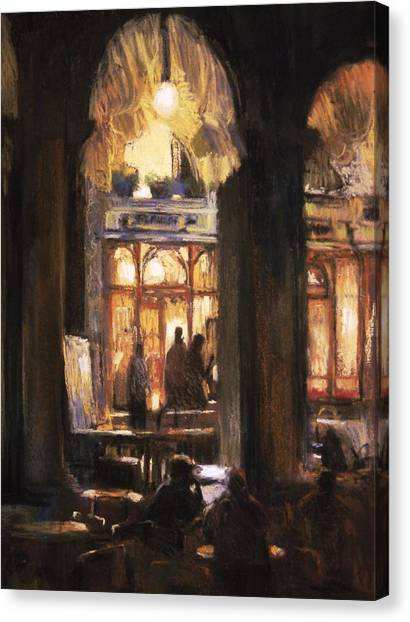 Florians Cafe Venice Canvas Print by Jackie Simmonds