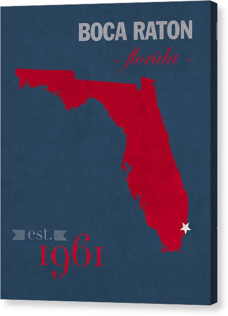 Conference Usa Canvas Print - Florida Atlantic University Owls Boca Raton College Town State Map Poster Series No 037 by Design Turnpike
