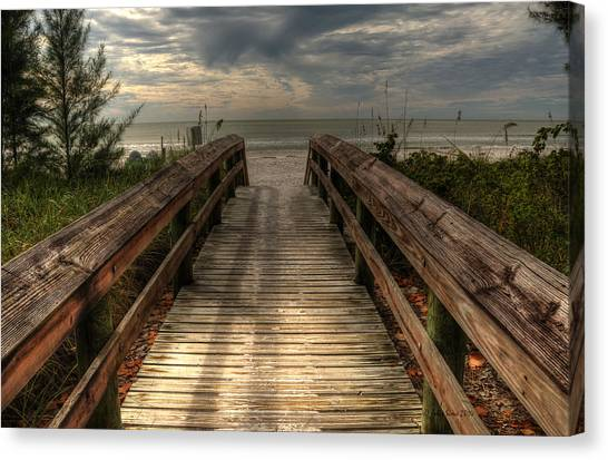 Florida Beach Entrance With A Beautiful Sky Canvas Print