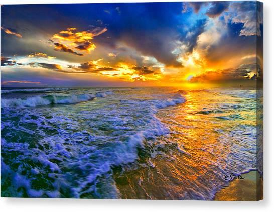 Florida Beach-golden Suntrail Sunset-rolling Sea Waves Canvas Print