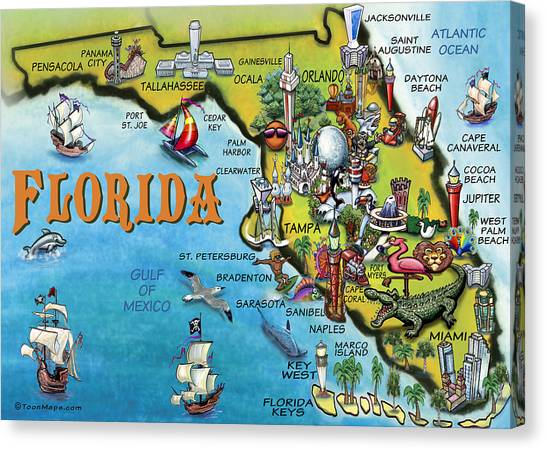 Florida Cartoon Map Canvas Print