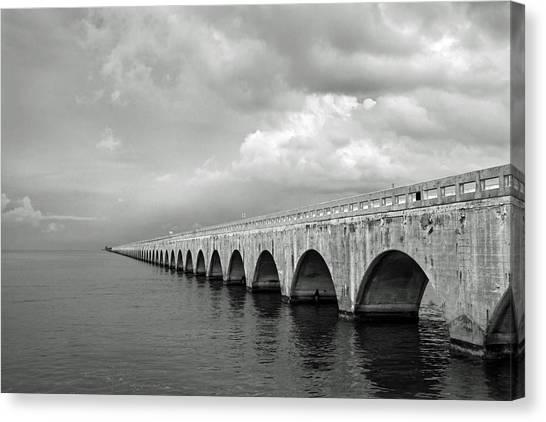 Florida Keys Seven Mile Bridge Black And White Canvas Print