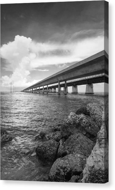 Florida Keys Seven Mile Bridge South Bw Vertical Canvas Print