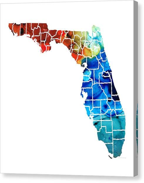 Florida Map Canvas Print - Florida - Map By Counties Sharon Cummings Art by Sharon Cummings