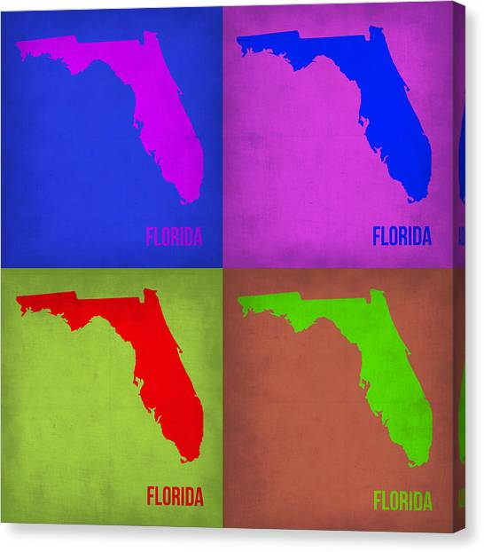 Miami Canvas Print - Florida Pop Art Map 1 by Naxart Studio