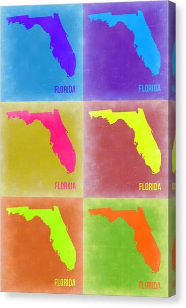 Miami Canvas Print - Florida Pop Art Map 2 by Naxart Studio