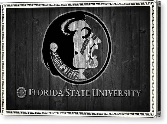 Florida State Fsu Canvas Print - Florida State University Black And White Barn Door by Dan Sproul