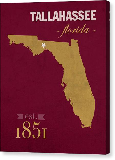 Florida State Canvas Print - Florida State University Seminoles Tallahassee Florida Town State Map Poster Series No 039 by Design Turnpike