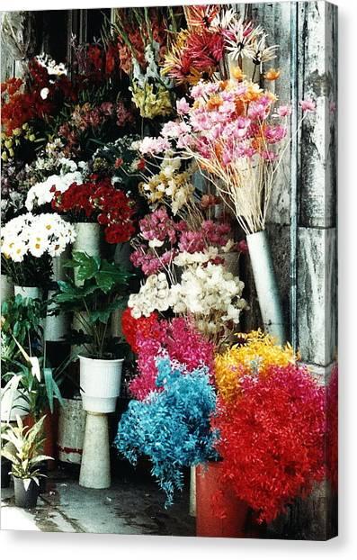 Florist In Athens Canvas Print by Jacqueline M Lewis