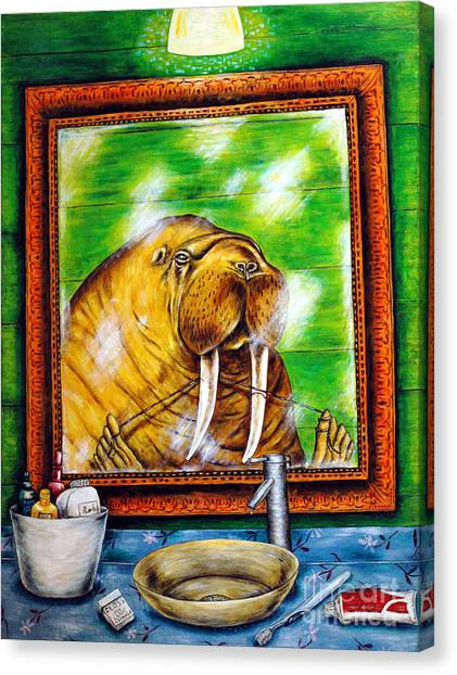 Flossing In The Bathroom Canvas Print by Jay  Schmetz