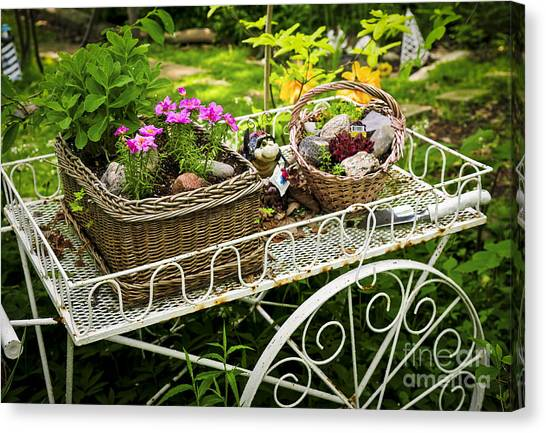 Garden Canvas Print - Flower Cart In Garden by Elena Elisseeva