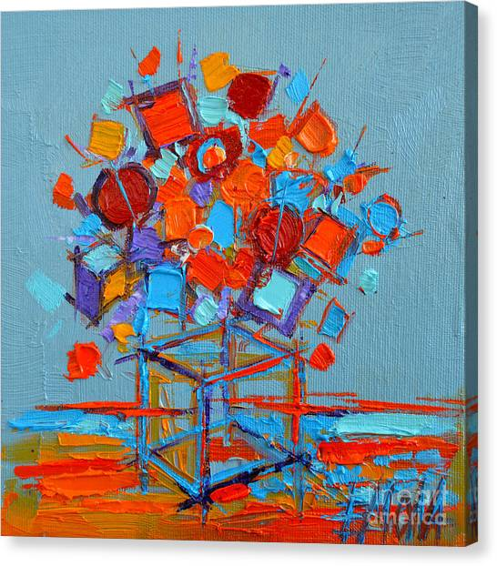 Fauvism Canvas Print - Flower Cube by Mona Edulesco