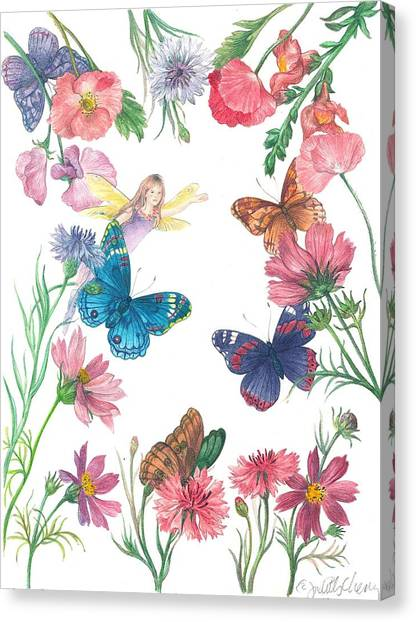 Flower Fairy Illustrated Butterfly Canvas Print