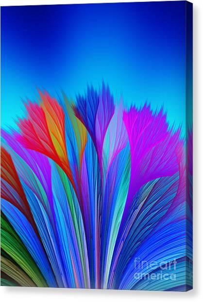 Flower Fantasy In Blue Canvas Print