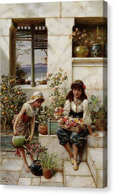 Fruit Trees Canvas Print - Flower Girls by William Stephen Coleman