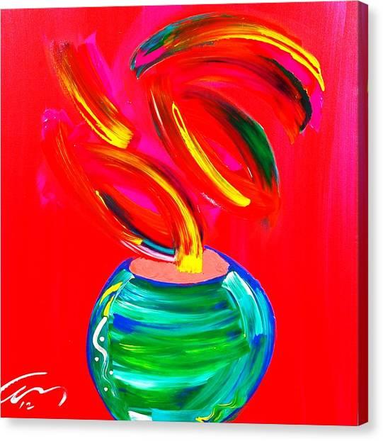 Flower In A Pot Canvas Print by Mac Worthington
