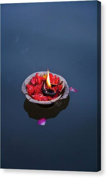 Ganges Canvas Print - Flower Lamp On The Ganges River by Keren Su