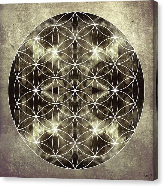 Meditate Canvas Print - Flower Of Life Silver by Filippo B