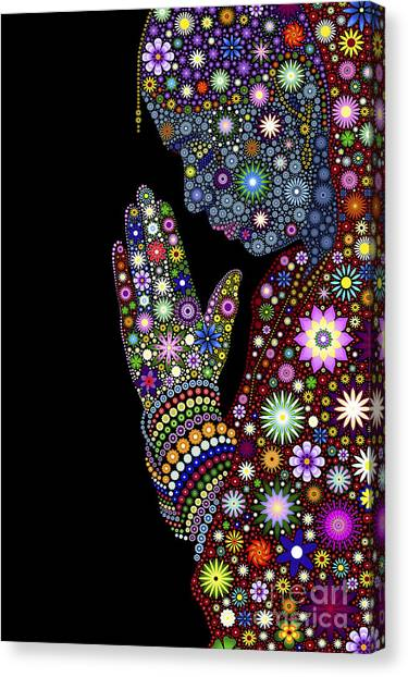 Hand Canvas Print - Flower Prayer Girl by Tim Gainey