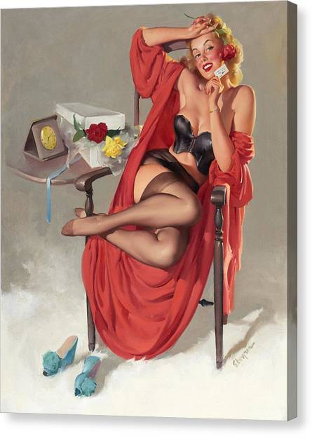 Flower Surprise Pin-up Girl Canvas Print