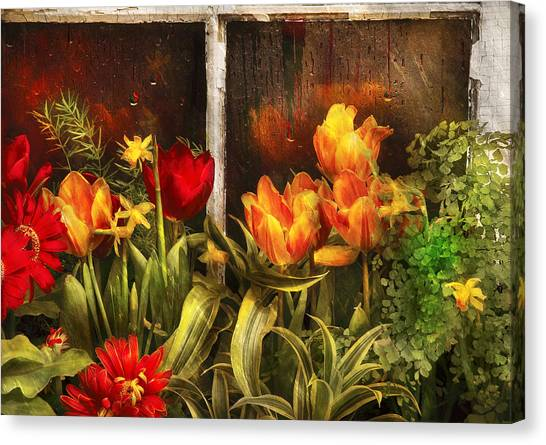 Flower - Tulip - Tulips In A Window Canvas Print