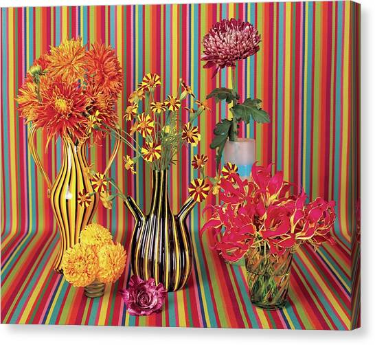 Vase Of Flowers Canvas Print - Flower Vases Against Striped Fabric by Lisa Charles Watson