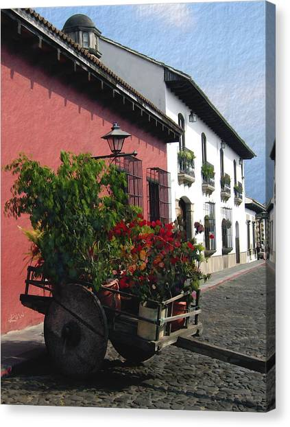 Flower Wagon Antigua Guatemala Canvas Print